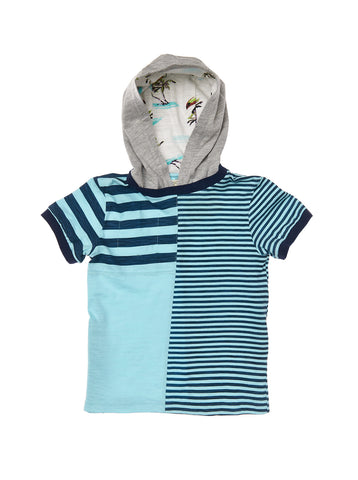 Boys Aqua slub jersey printed multi stripe short sleeve top with side placket