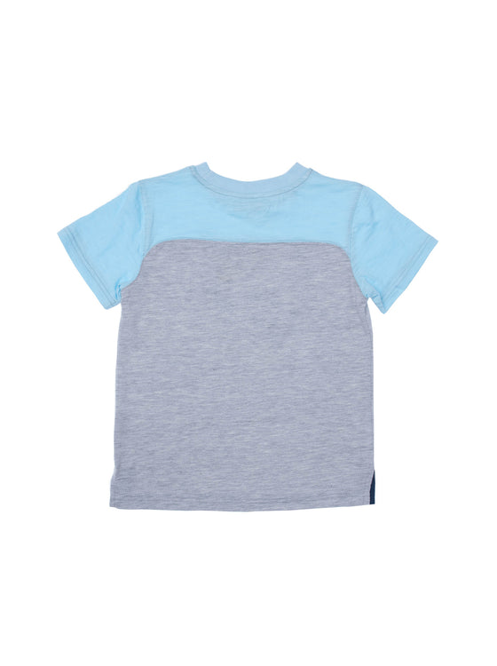 Boys Grey Mix/Aqua slub jersey color block short sleeve t-shirt with front print