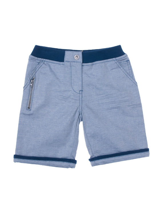 Boys Midnight chambray bermuda with zip pocket detail