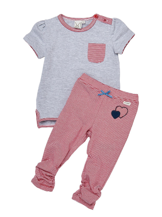 Girls 2pcs cotton/spandex high low top with yarn dye stripe leggings