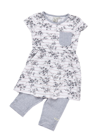 Girls 2pcs jersey short sleeve empire dress/tunic with capri