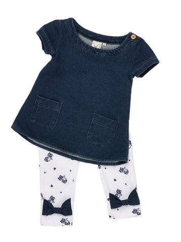 Girls Denim knit jersey tunic with patch pockets with all over print legging