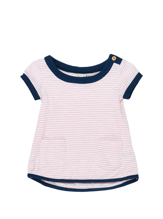 Girls 2pcs yarn dye stripe jersey tunic with patch pockets with leggings