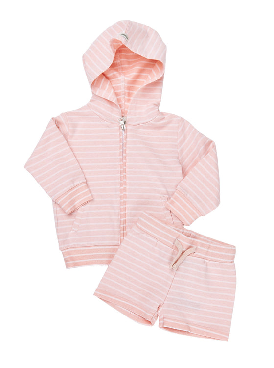 Girls 2pcs yarn dye terry long sleeve hoodie with shorts