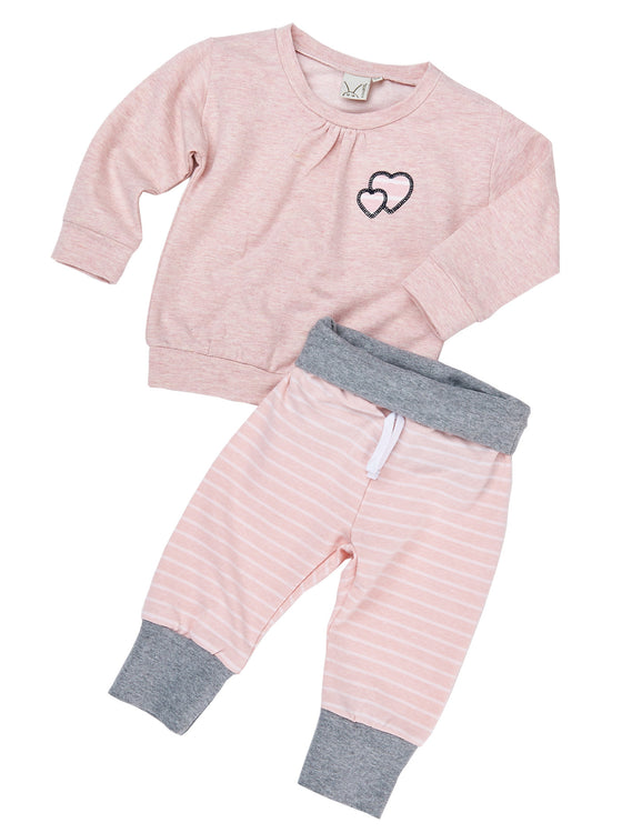 Girls 2pcs french terry long sleeve pull over with heart appliques and jogger pant