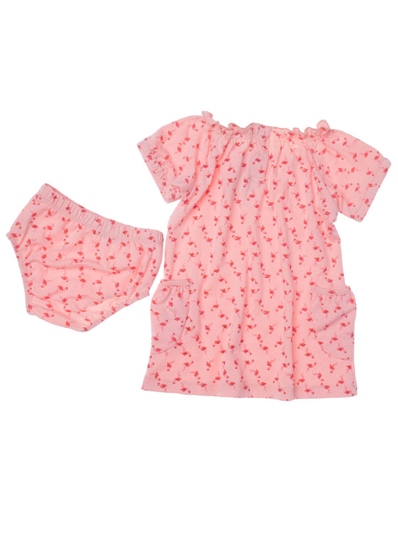 Girls All over print Coral jersey short sleeve above knee dress with front pockets