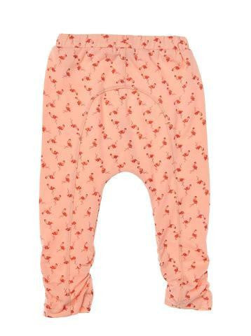 Girls All over print Coral jersey 7/8 legging with shrring & bow detail