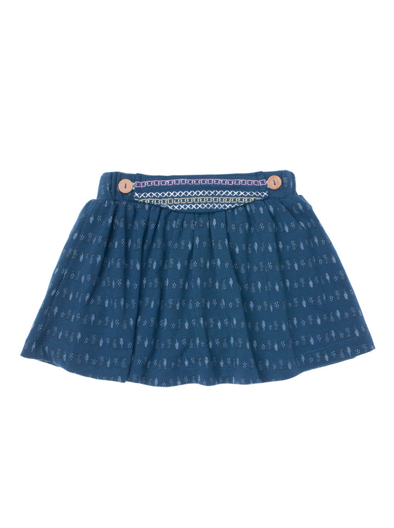 Girls All over print Midnight jersey skort with front embroidery detail