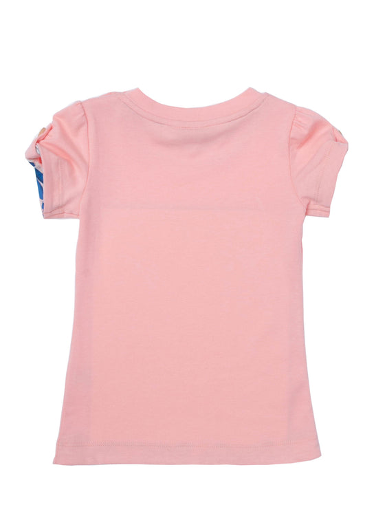 Girls Coral jersey short sleeve long top with front print & combo fabric