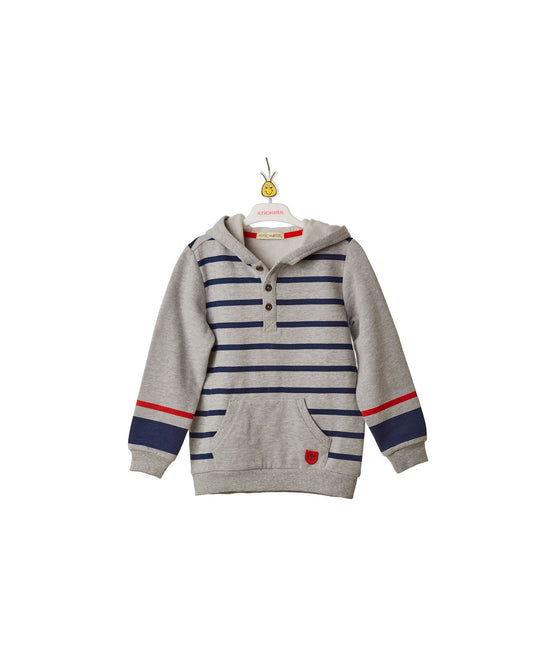 Boys y/d stripe hooded fleece & label