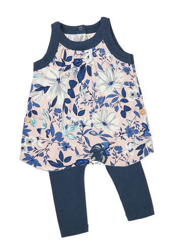 Girls Rose/Navy Floral print jersey dress/tunic with front pocket and leggings