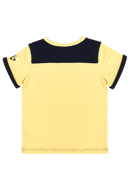 Boys Sun jersey short sleeve t-shirt with front print & combo denim