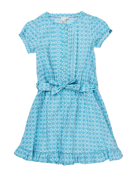 Girls All over print Ocena stretch poplin button up dress with pintucks