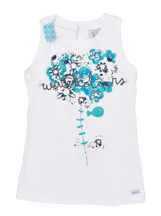 Girls White jersey long cami with front print