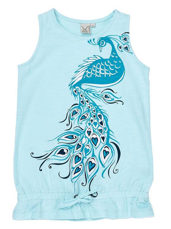Girls Turquoise slub jersey long tank with print & drawstring