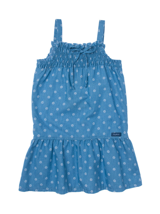 Girls All over print Ditsy Denim dress with gathering & ruffle hem