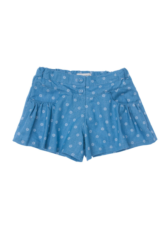 Girls All over print Ditsy Denim flounce short