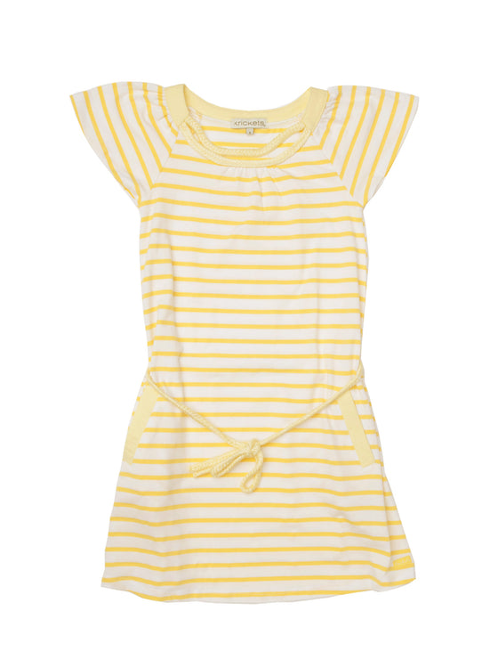 Girls Lemon Stripe yarn dye jersey stripe dress with braiding detail