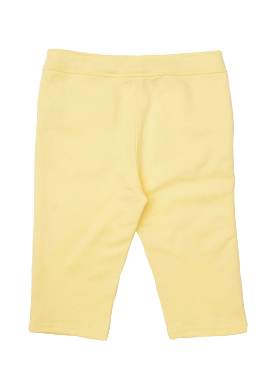Girls Lemon jersey capri with buttons at hem & ruffle detail