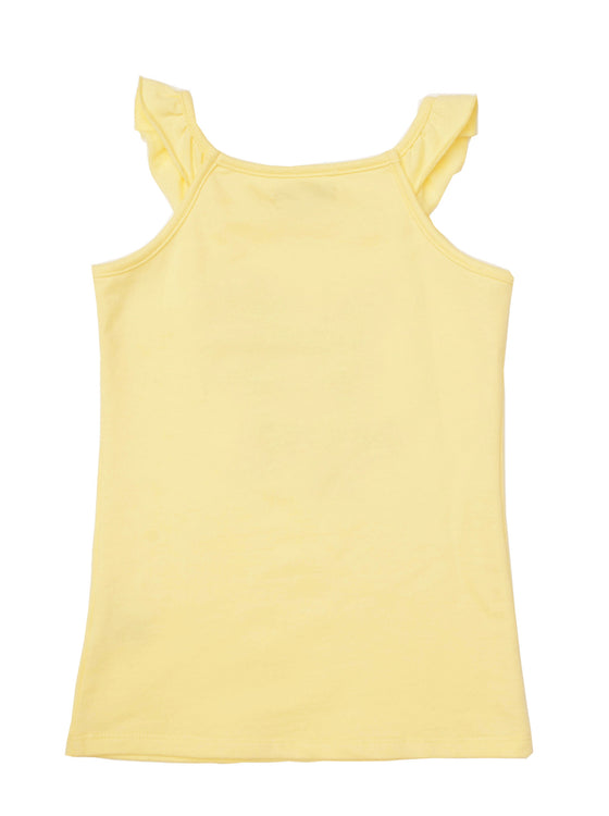 Girls Lemon jersey ruffle tank with front print & woven patch