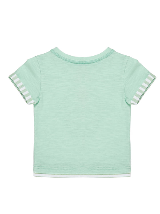 Boys Ice Mint slub jersey short sleeve t-shirt with combo cuff & front print