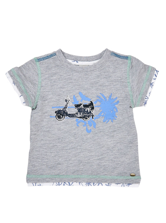 Boys Grey Mix slub jersey short sleeve t-shirt with front print & combo fabric