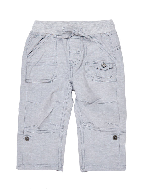 Boys Midnight chambray pant with pockets & button up hem