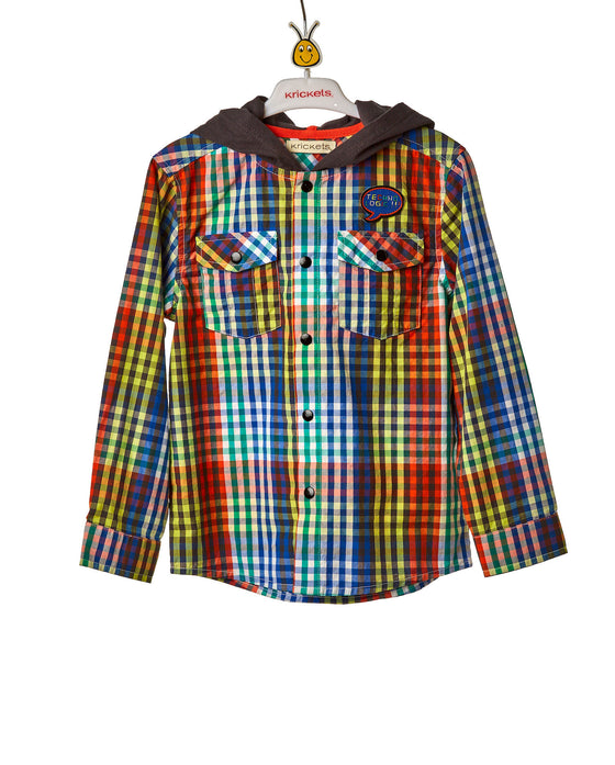 Boys Checkered Button Down Shirt With Hoodie