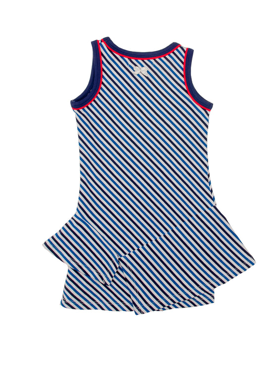 Girls Black, White And Blue Striped Tunic