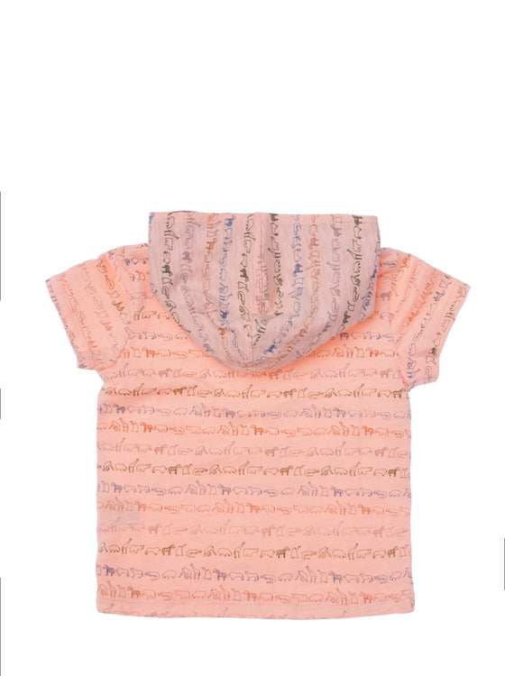 Boys Coral all over print jersey short sleeve hooded t-shirt