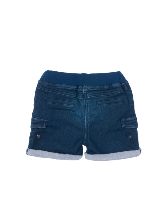 Boys Denim knit french terry short with patch pockets