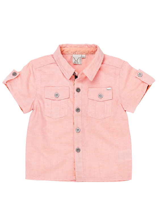 Boys Coral chambray short sleevbe shirt with sleeve & placket details