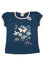 Girls Midnight short sleeve jersey long top with front print & embroidery