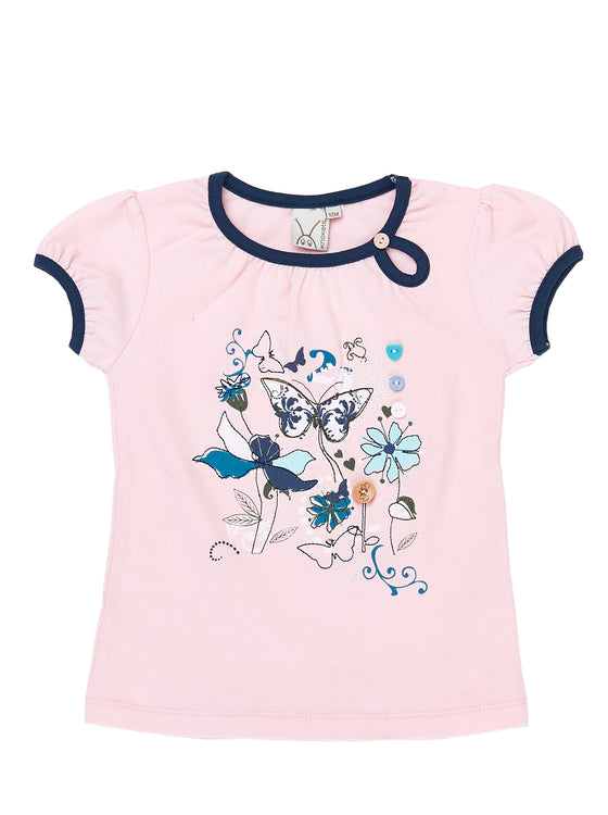 Girls Cotton Candy short sleeve jersey long top with front print & embroidery