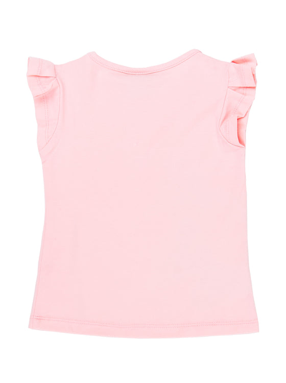 Girls Cotton Candy slub jersey ruffle sleeve top with print at hem