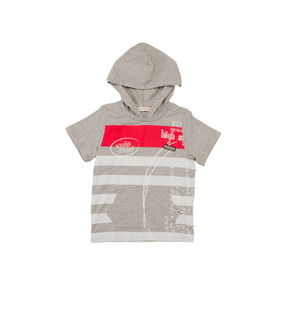 Boys y/d stripe s/s jersey hooded top