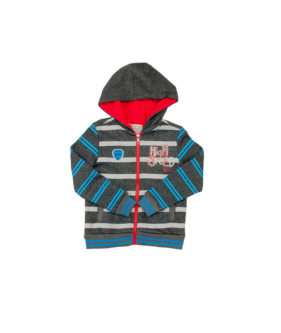 Boys Striped French Terry Hoodie