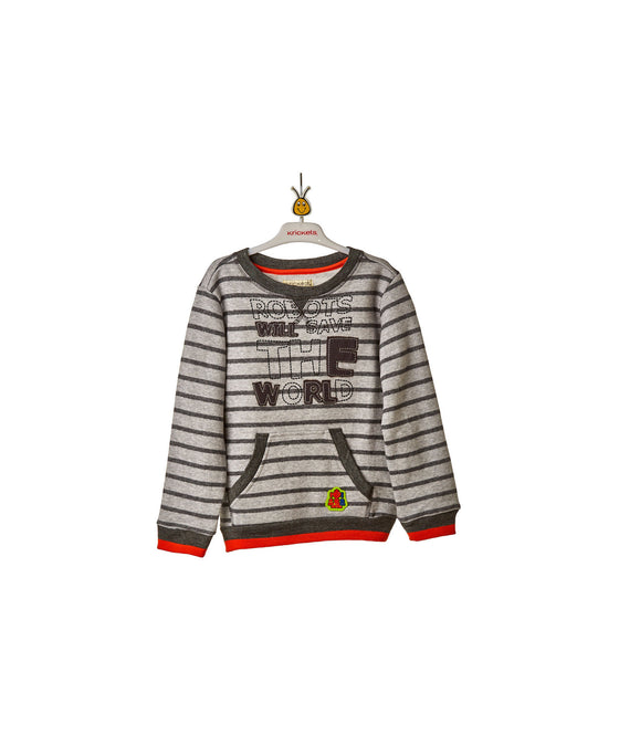Boys y/d stripe fleece top w.screen & applique