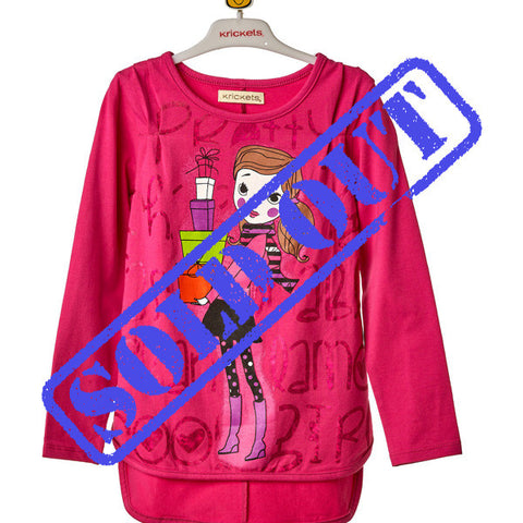 Girls Pink Long Sleeve Top with Print
