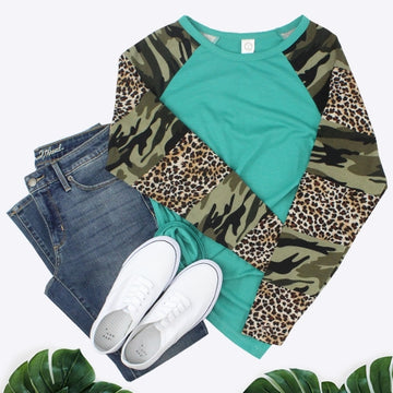 Camo and Leopard Turquoise Long Sleeve Top