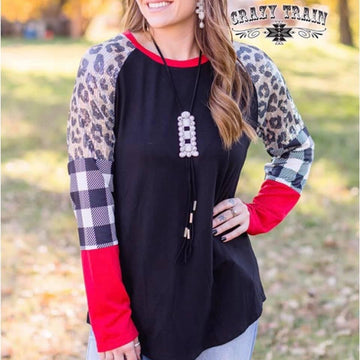 Leopard Sequin and Plaid Long Sleeve
