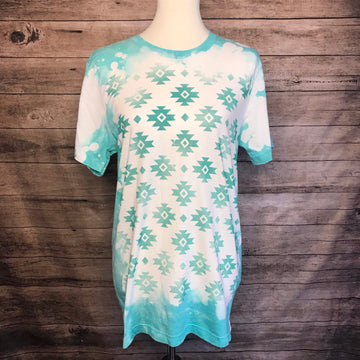 Bleached Turquoise Aztec Tee
