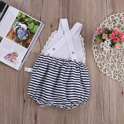 Lace and Striped Sunsuit