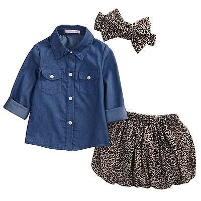 Denim and Leopard Set