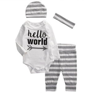 Hello World Gray Striped Set
