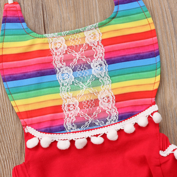 Sleeveless Rainbow Lace Bodysuit