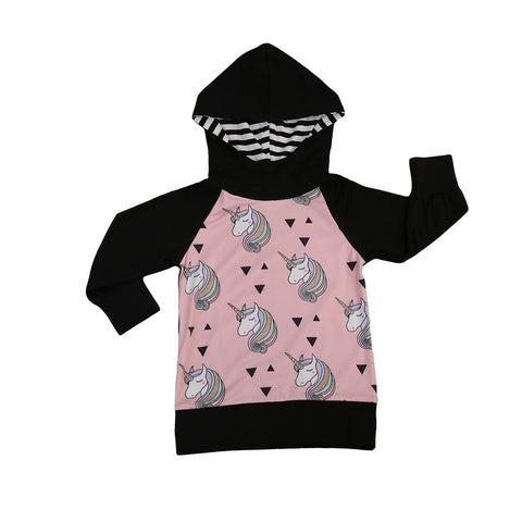 Pink and Black Unicorn Hoodie