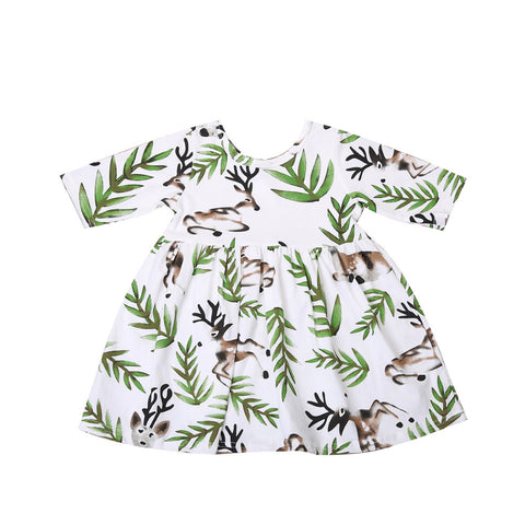 Half Sleeve Deer and Leaves Print Dress (2T - 5T)