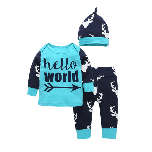 Hello World Black and Teal Deer Set