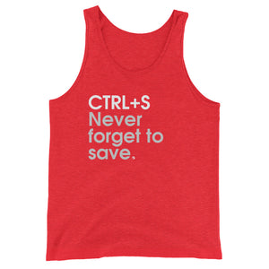 CTRL+S Never Forget To Save - Green Screen Apparel Tank Top